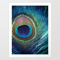 peacock feather Art Prints featuring Peacock Feather by KunstFabrik_StaticMovement Manu Jobst