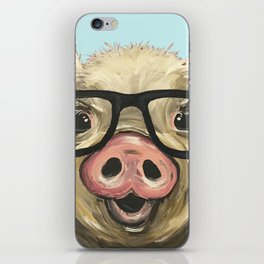 Cute Pig Painting, Farm Animal with Glasses iPhone Skin