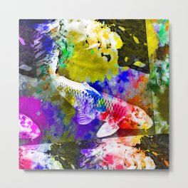 koi fish with painting texture abstract background in red blue yellow pink Metal Print