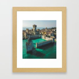 Catle in the water Framed Art Print