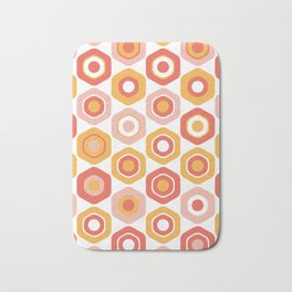 Buttons. Cute Geometric Pattern in Coral Pink and Ochre Mustard Bath Mat