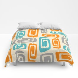 Mid Century Modern Cosmic Abstract 740 Orange Blue and Gray Comforters