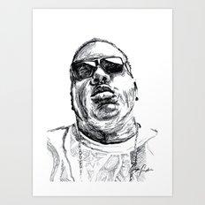 Digital Drawing 33 - Notorious B.I.G. Black and White Art Print