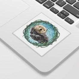 Sea Otter in Kelp Wreath Sticker