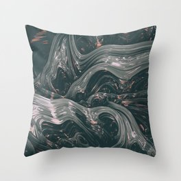 turne II. Abstract Charcoal Melt Throw Pillow