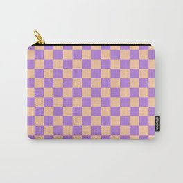 Deep Peach Orange and Lavender Violet Checkerboard Carry-All Pouch
