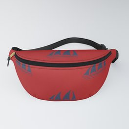Navy blue Sailboat Pattern on red background Fanny Pack