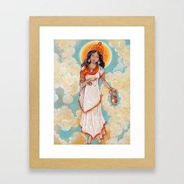 Brahmacharini in a white dress on background of blue sky Framed Art Print