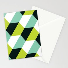Geometric Pattern #51 (lime teal hexagons) Stationery Cards