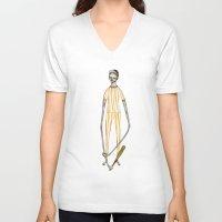 baseball V-neck T-shirts featuring BASEBALL  by auntikatar