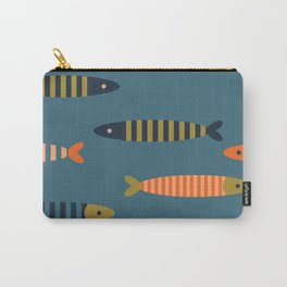 Striped fish - blue Carry-All Pouch