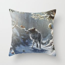 Friends: Wolf & Squirrel in Winter Throw Pillow