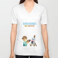 super heroes V-neck T-shirts featuring Super Heroes Are Creative by youngmindz