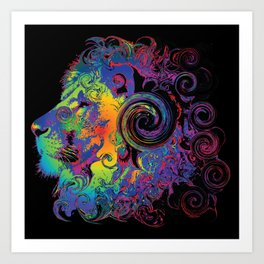 PSYCHEDELIC LION Art Print