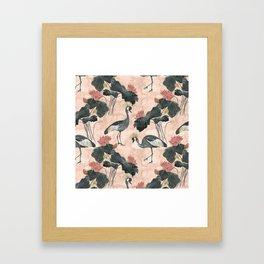 lotus and cranes Framed Art Print