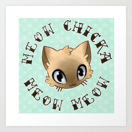 Meow Chicka Meow Meow Cat Tattoo Flash-style Art Print