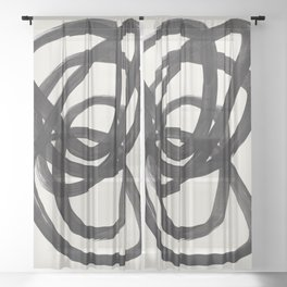 Mid Century Modern Minimalist Abstract Art Brush Strokes Black & White Ink Art Spiral Circles Sheer Curtain