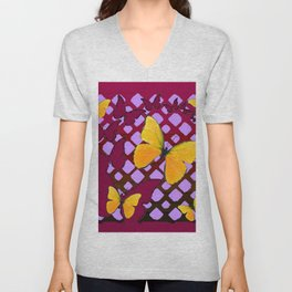 Modern Deco Style Yellow Butterflies Burgundy-Purple Art Unisex V-Neck