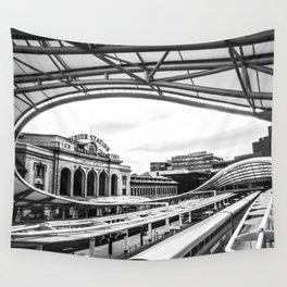Union Station // Train Travel Downtown Denver Colorado Black and White City Photography Wall Tapestry