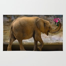 Cheerful elephant with flowers Rug