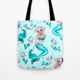 Pinup Mermaid with Merkittens Tote Bag