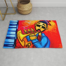 Musician against red background with blue piano keys Rug