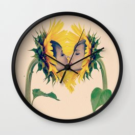 Quiverish Sunflower Kiss 4 - Erotic Collage Art Wall Clock