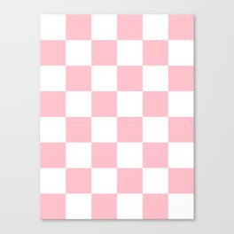 Large Checkered - White and Pink Canvas Print