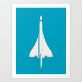 Concorde Supersonic Jet Airliner Aircraft - Cyan Art Print