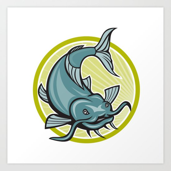 Catfish Attacking Circle Cartoon Art Print