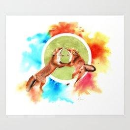 Fox Play Watercolour Painting Art Print