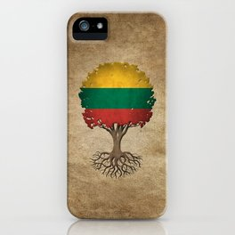 Vintage Tree of Life with Flag of Lithuania iPhone Case