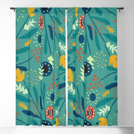 Floral dance in blue Blackout Curtain