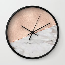 St Tropez rose gold marble Wall Clock