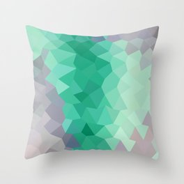 Celadon Green Abstract Low Polygon Background Throw Pillow