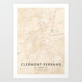 Clermont-Ferrand, France - Vintage Map Art Print