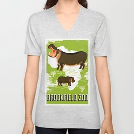 Vintage African Hippo Zoo Ad Unisex V-Neck