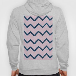 Geometric baby pink navy blue watercolor chevron Hoody