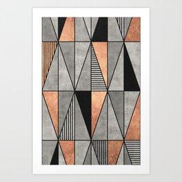 Concrete and Copper Triangles Art Print
