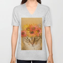 Tabby Cat with Daisy Flower Crown, Mustard Yellow Background Unisex V-Neck