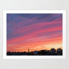 Sunset over the Hudson Art Print