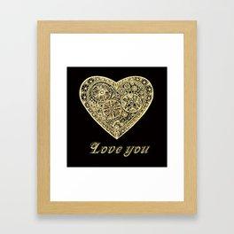golden heart I love you Framed Art Print