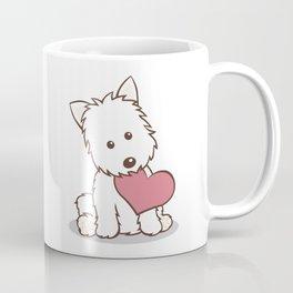 Westie Dog with Love Illustration Coffee Mug