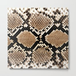 Pastel brown black white snakeskin animal pattern Metal Print