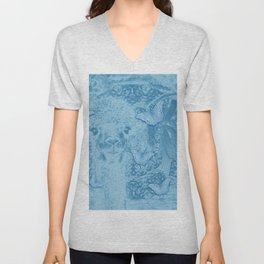 Ghostly alpaca with butterflies in snorkel blue Unisex V-Neck