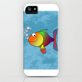 Colorful Rainbow Fish Cartoon Design iPhone Case