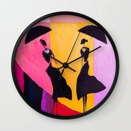 LADIES UNDER UMBRELLAS Wall Clock