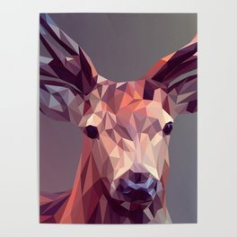 Colorful Polygons Abstract Deer Poster