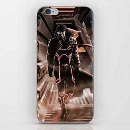Man walking in a sci-fi city iPhone Skin