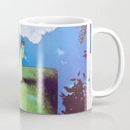 apple worm reaching for clouds paper photo collage Coffee Mug